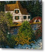 Rhine River Cottage Metal Print