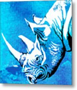 Rhino Animal Decorative Blue Poster 1 - By  Diana Van Metal Print