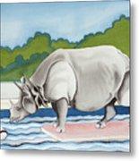 Rhino In La Metal Print