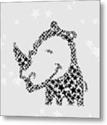 Rhinoceros Black Stars Metal Print