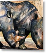Rhinos In Dappled Shade. Metal Print