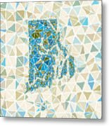 Rhode Island State Map Geometric Abstract Pattern Metal Print