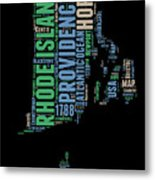 Rhode Island Word Cloud 2 Metal Print