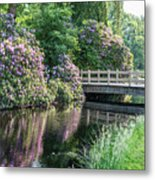 Rhododendrons And Wooden Bridge In Park Metal Print