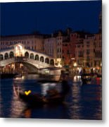 Rialto Bridge In Venice At Night With Gondola Metal Print