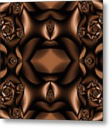 Rich Coffee Fractal Roses Metal Print