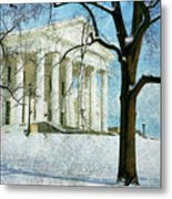 Richmond Virginia Capitol In Snow Metal Print