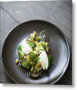 Ricotta And Salad With Herbs On Rye Bread Metal Print
