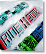 Ride In Powder Snowboard Graphics In The Snow Metal Print by Andy Smy