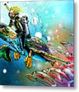 Riding A Turtle Metal Print