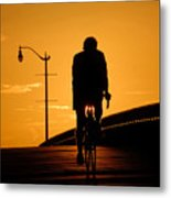 Riding At Sunset Metal Print