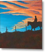 Riding Fence Metal Print