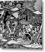 Riding Life In A Old Red Bicycle... Metal Print