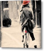 Riding My Bicycle In A Red Hat Metal Print