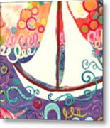 Riding The Waves In Bubbles Of Joy Metal Print