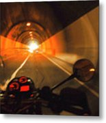 Riding Through One Of The Many Tunnels In The Italian Alps Metal Print