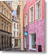 Riga Narrow Road Digital Painting Metal Print