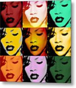 Rihanna Warhol By Gbs Metal Print by Anibal Diaz