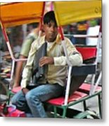 Rikshaw Rider - New Delhi India Metal Print