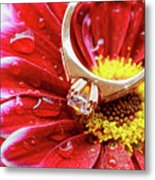 rings pink dahlias love Valentine's Day Tinted  and softened - diamond wedding  Metal Print