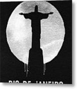 Rio De Janeiro Landmark Black Metal Print
