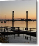 Rio Vista Bridge And Sail Boats Metal Print