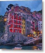 Riomaggiore In Cinque Terre Italy Painterly Metal Print