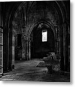 Rioseco Abandoned Abbey Naves Bw Metal Print