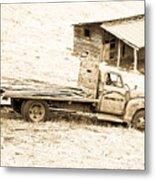 Rip Old Truck In Field Metal Print
