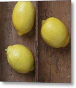 Ripe Lemons In Wooden Tray Metal Print