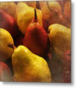 Ripe Pears And Two Persimmons Metal Print