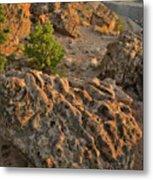 Ripple Boulders At Sunset In Bentonite Quarry Metal Print