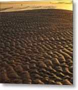 Ripples In The Sand Low Tide Golden Sunset Metal Print