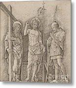 Risen Christ Between Saints Andrew And Longinus Metal Print
