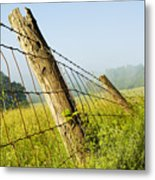 Rising Mist With Falling Fence Metal Print
