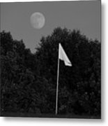 Rising Moon Black And White Metal Print