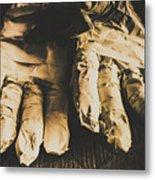 Rising Mummy Hands In Bandage Metal Print