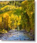 River And Aspens Metal Print