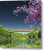 River Bridge Cherry Tree Blosson Metal Print
