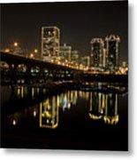 River City Lights At Night Metal Print