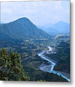 River  Flowing From Mountain Metal Print