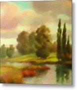 River Flowing Through The Landscape H B Metal Print