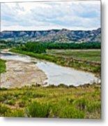 River Landscape In Northwest North Dakota  Metal Print