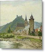 River Landscape Of The Rhine Metal Print