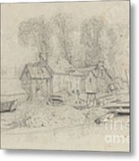 River Landscape With Buildings, Boats, And Figures Metal Print