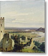 River Landscape With Castle Ruins Metal Print