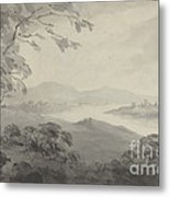 River Landscape With Ruins Metal Print