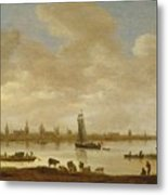 River Landscape With View Of Vianen Metal Print