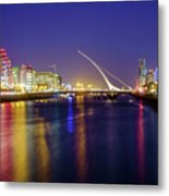 River Liffey In Dublin At Dusk Metal Print