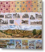River Mural Autumn Panel Top Half Metal Print
